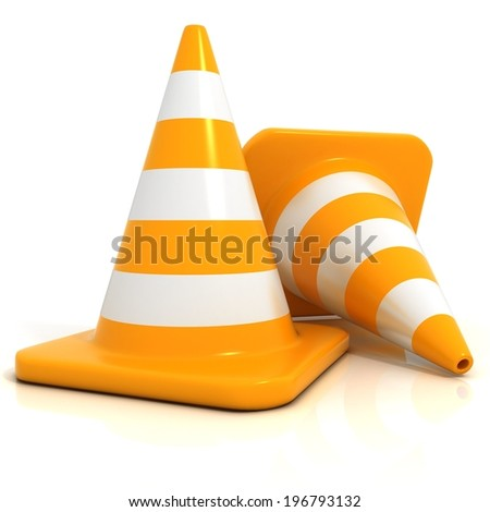 Traffic cones 3d isolated on white background - stock photo