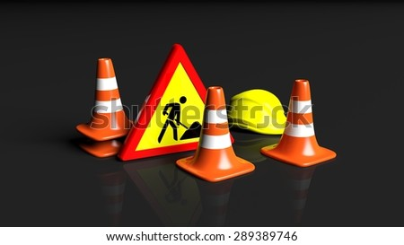 Traffic cones,helmet and warning sign isolated on black background  - stock photo