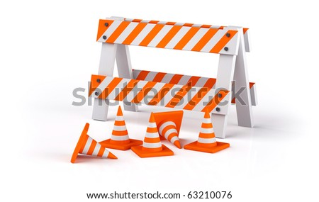 Traffic cones isolated on white - stock photo