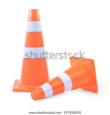 traffic cones on white background