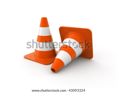 Traffic cones on white Background. Computer generated image. - stock photo