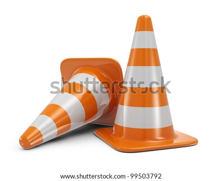 Traffic cones. Road sign. Icon isolated on white background - stock photo