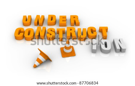 traffic cones with yellow and black lines and the words: under construction (3d render) - stock photo
