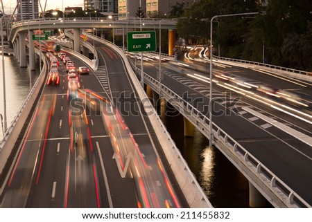 Traffic congestion peak hour - stock photo