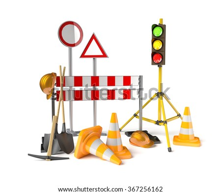 Traffic constructions symbols on the white background. 3D rendered stoplight, traffic cones, staffs, signs and tools. - stock photo