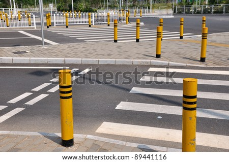 Traffic facilities and sign of road crossing - stock photo