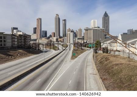 Traffic free highway leading to downtown Atlanta, Georgia. - stock photo