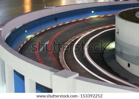traffic in car park - stock photo