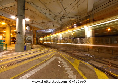 Traffic in downtown city of Hong Kong - stock photo