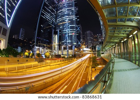Traffic in downtown of a city, pearl of the east: Hong Kong. - stock photo