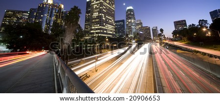 Traffic in Los Angeles - stock photo