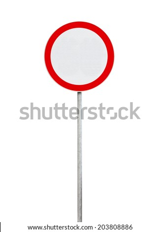 traffic is prohibited, road sign isolated on white - stock photo