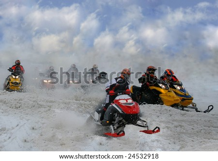 traffic jam at snowmobile races - stock photo