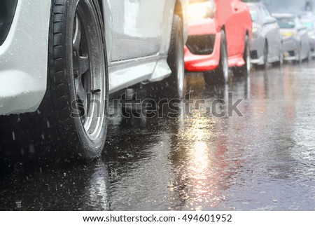 traffic jam in a rainy day