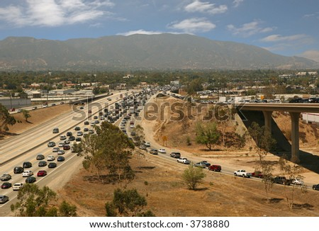 Traffic jam in California Highway System - stock photo