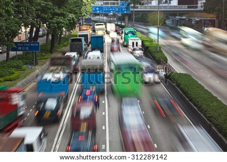 Traffic jam in Hong Kong during peak hour - stock photo