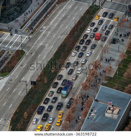 Traffic jam in New York City road - stock photo