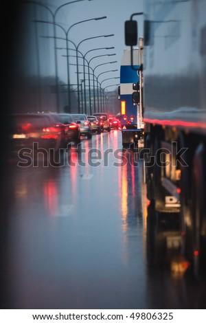 Traffic jam in the rain - stock photo
