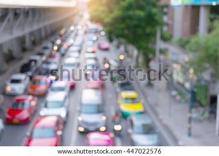 traffic jam in urban at sunset.