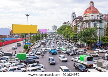 Traffic jam in Yangon Myanmar