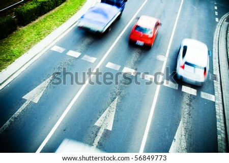 Traffic jam on city street, motion blur - stock photo
