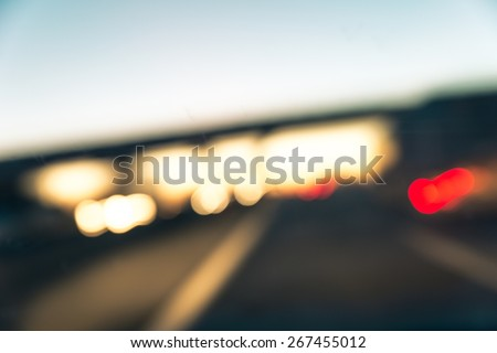 traffic jam on the highway. blurred background - stock photo