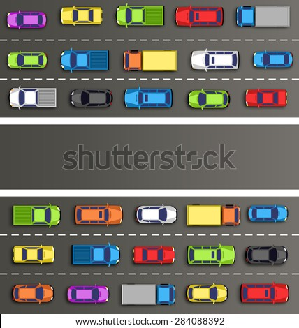 Traffic jam on the road with cars on gray background - stock photo