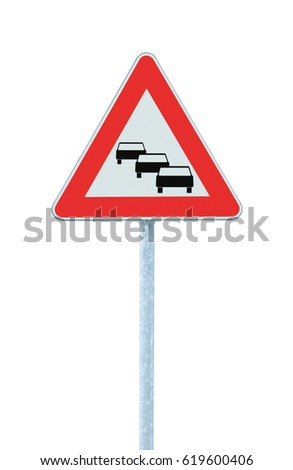 Traffic jam queues likely road sign, expect delays ahead warning isolated, traffic congestion symbol, red triangle, large detailed vertical closeup
