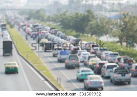 Traffic jam, Thailand - stock photo