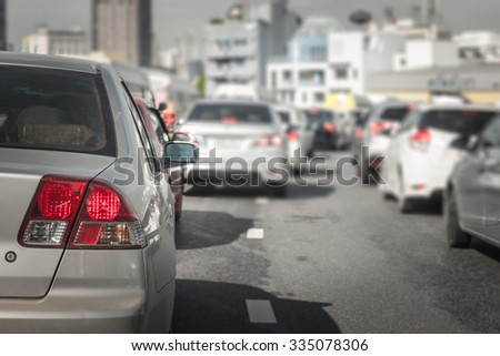 traffic jam with a lot of cars on express way in Bangkok - stock photo