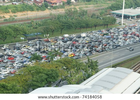 traffic jammed - stock photo