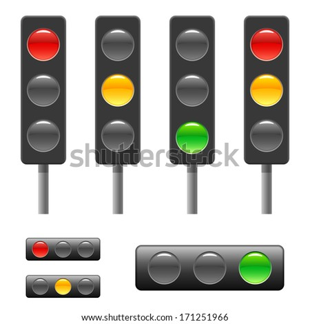 Traffic light and status bar. Raster version of EPS image 46663039 - stock photo