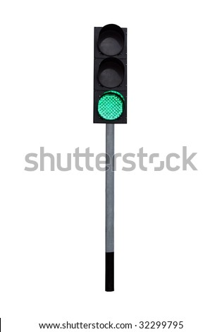 traffic light isolated on the white background - stock photo