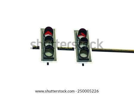 traffic light isolated on white background - stock photo