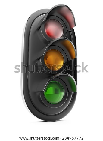Traffic light isolated on white background. 3d render