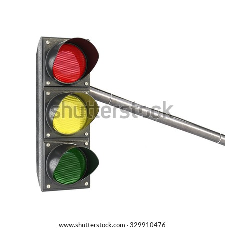 Traffic light, lights yellow light isolated on white background