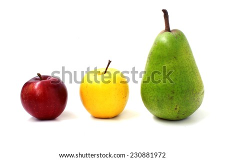 Traffic light of fruits on white background