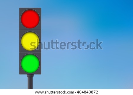 Traffic light on sky background.  illustration. Raster version