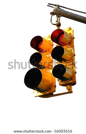 Traffic light on white background - stock photo