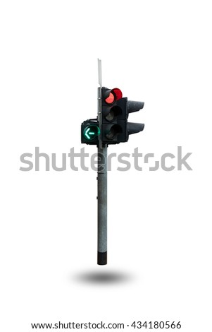 Traffic light or traffic signal isolated on white background. - stock photo