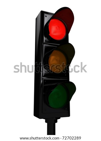 Traffic light over white background. 3d rendered image - stock photo
