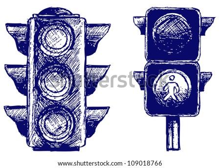Traffic light. Raster - stock photo