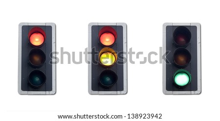Traffic light sequence complete with clipping paths. - stock photo