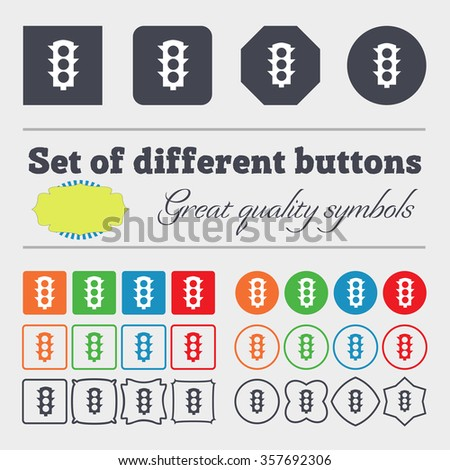 Traffic light signal icon sign. Big set of colorful, diverse, high-quality buttons. illustration - stock photo