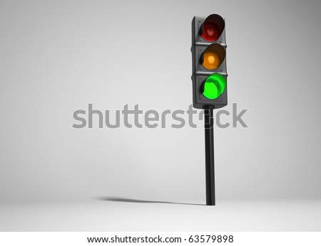 Traffic light - this is a 3d render illustration - stock photo