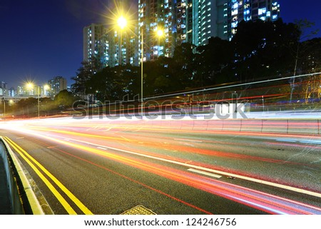 traffic light trail at night