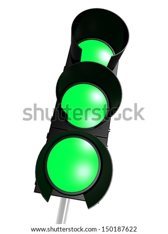 Traffic light with green on - stock photo