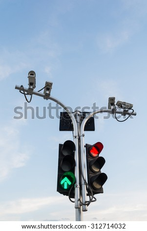 Traffic lights and surveillance cameras - stock photo