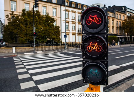 Traffic lights in city Luxembourg. - stock photo