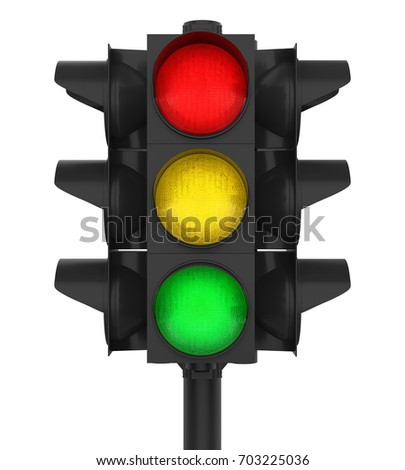 Traffic Lights Isolated. 3D rendering